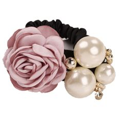 Women Girls Rose Pearls Style Ponytail Holder Hair Band (D) - D - Accessories, Hair Accessories, Clips # # Rose Headband, Pearl Headband, Elastic Rope, Elastic Hair Bands, Pearl Rose, Pearl Flower, Satin Ribbon Roses, Hair Band For Girl, Fashion Pattern