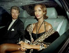 """""""Tomorrow belongs to those who can hear it coming."""" — David Bowie and Iman in Mayfair on April 21, 1995..."""