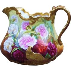 "Spectacular T & V Limoges France Vintage 1900's Hand Painted Vibrant ""Red, Pink, Burnt Orange, & White Carnations"" 7-1/4"" Floral Cider Pitcher by the French Artist, ""Regis"""