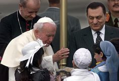 Pope John Paul II meets former Egyptian President Hosni Mubarak