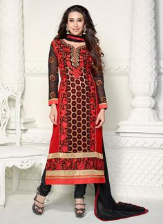 Superior Georgette Black and Red Churidar Suit  www.ethnicoutfits.com Email : support@ethnicoutfits.com Call : +918140714515 What's app : +918141377746