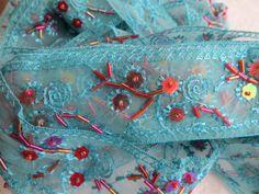 Webband - Organzaborte Türkis mit Perlen und Pailetten 55mm - ein Designerstück von Nayka bei DaWanda