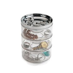 The Vault Stackable Jewelry Storage by Umbra keeps jewelry organized and untangled.