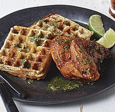 ginger-sesame+waffles+with+indonesian+fried+chicken