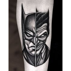29 Of The Most Impressive Pop Culture Tattoos #refinery29  http://www.refinery29.com/funny-pop-culture-meme-tattoos#slide-13  Batman and The Joker, combined into one artful tattoo....