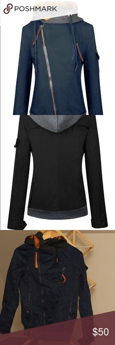 Wealfeel Diagonal Zip Up Front Hood Jacket 90% cotton navy blue midweight jacket.  Tag says medium but it is really more equivalent to a US size small.   Measurements are bust 35, shoulder 14, sleeve length 25, coat length 27 inches.  Never worn. Wealfeel Jackets & Coats