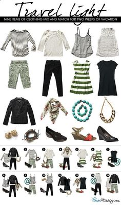 Light packing travel outfits for spring and summer travel. Nine items of clothing mix and match for two weeks of vacation.