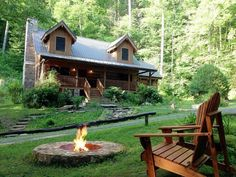 Awesome Hickory Spring is a magnificent Appalachian style log home safely tucked in