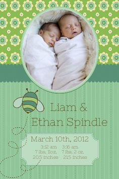 #custom #label #invitation #birth #announcement #baby #twins #kids