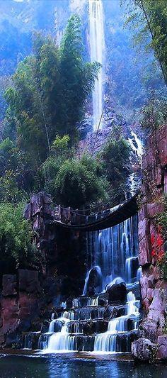 Baofeng Lake Waterfalls and suspension bridge in Zhangjiajie, China
