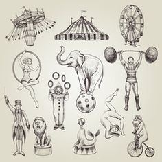 Illustration about Circus vintage vector illustrations set. Hand drawn sketch of animals, attractions, circus actor characters. Illustration of ball, amusement, animal - 90718367 Animal Sketches, Animal Drawings, Circus Vintage, Vintage Circus Performers, Vintage Circus Costume, Tent Drawing, Circus Illustration, Circus Characters, Circus Art