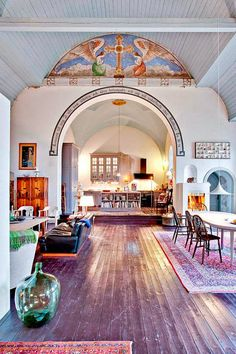 Home in an old church | via Keltainen Talo Rannalla