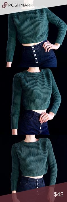 dd15a3d0aca3 American Apparel green cropped sweater Green American Apparel cropped  fisherman sweater. Beautiful dark forest green