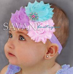 Lavender, pink,aqua Baby headband, vintage headband, shabby chic roses headband, headband on Etsy, $9.99
