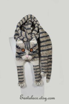 Tabby Gray Cat Scarf Knitting Scarf Gray Scarf Cowl Scarf Long Scarf knit, winter scarf, Christmas G Knitting For Kids, Knitting Projects, Crochet Projects, Hand Knitting, Cat Scarf, Grey Scarf, Scarf Knit, Long Scarf, Knitting Patterns
