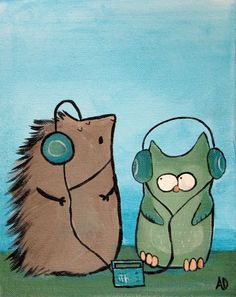 Owl and Hedgehog Painting Silly Kids Wall Art by andralynn on Etsy, $50.00