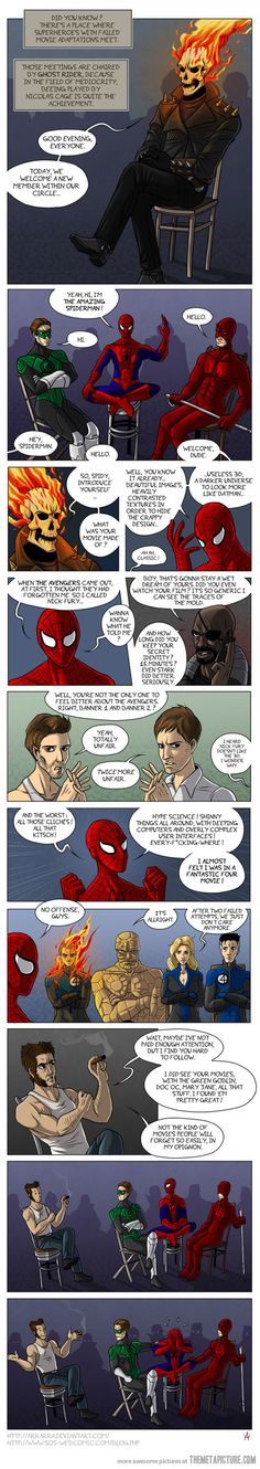 When Superheroes with failed movie adaptations meet… Funny, but I actually sorta like The Amazing Spiderman... It wasn't AS failed as some of the others... :)