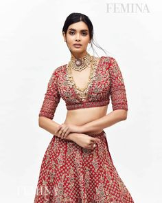 @dianapenty in @kalkifashion for @feminaindia! ❤️ Draped in our gorgeous Crimson Red Lehenga from KALKI's fan fav Kesa collection. Cocktail actress absolutely slayed the look and brought a wave of grace and elegance to the cover of Femina India magazine. ✨ 👯♀️ Simple Blouse Designs, Silk Saree Blouse Designs, Stylish Blouse Design, Bridal Blouse Designs, Indian Attire, Indian Wear, Indian Outfits, Indian Style, Indian Dresses