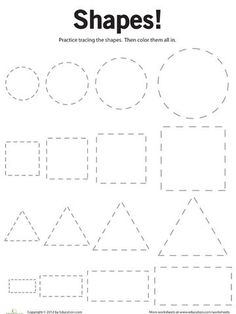 Use a pencil to follow the outlines of four basic shapes in four sizes, and then shade them in with crayons or markers.