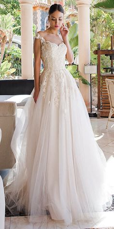 ba2c9da2 Alluring Tulle Jewel Neckline A-line Wedding Dresses With Beaded Lace  Appliques