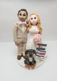 Bride and Groom with different Nationalities Wedding Cake topper by lynnslittlecreations on Etsy