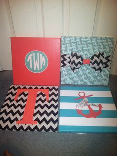 Homemade canvases tailored to your room theme! I love making these.