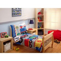 All aboard the choo choo train. The Kids choo choo 4 piece toddler bedding set is perfect for your little engineer. In classic colors of navy, g. Kids Comforter Sets, Kids Comforters, Kids Toddler Bed, Toddler Pillow, Toddler Rooms, Baby Kids, Baby Boy, Kids Bedroom Boys, 3 Year Old Boy Bedroom Ideas