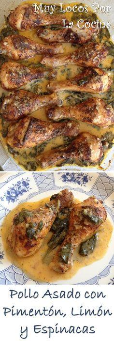 Pollo Asado con Pimentón y Salsa Cremosa de Limón y Espinacas. Puedes encontrarlo en www.muylocosporlacocina.com.