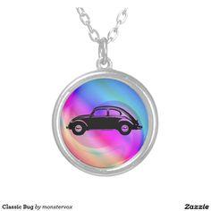 Classic Bug Round Pendant Necklace #Classic #Car #Necklace #Pendant