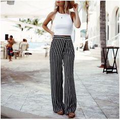 crop top and wide leg pants