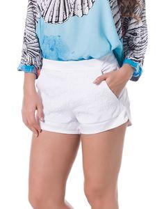 Shorts de Alfaiataria com Bordados Frontais Branco - Lez a Lez