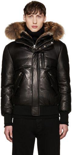 MACKAGE Black Leather Down Glen Jacket. #mackage #cloth #jacket