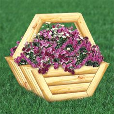 "Timber Basket Planter Plan  Make from standard Landscape Timber. 38""H x 44""W x 32""D.  Plan #2458  $12.95   ( crafting, crafts, woodcraft, pattern, woodworking, yard art, landscape timber, planter ) Pattern by Sherwood Creations"