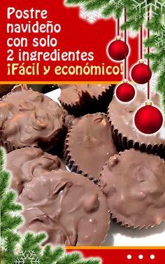 Postre navideño con solo 2 ingredientes. ¡Fácil y económico! #postre #navideño #receta #economico