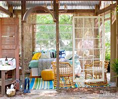 Assemble a Room No outdoor living space? Construct an open-air entertaining and relaxation station from architectural salvage. Outdoor Rooms, Outdoor Living, Outdoor Decor, Outdoor Ideas, Tools And Equipment, Porches, Metal Lawn Chairs, Relaxation Station, Fabric Ceiling