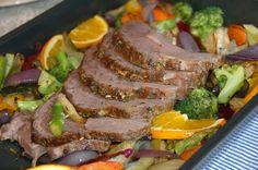 ganske enkelt: Helstekt entrecote med ovnsbakte grønnsaker og aromasoppsaus