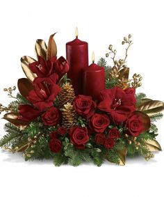 Amaryllis and roses and candles arrangement