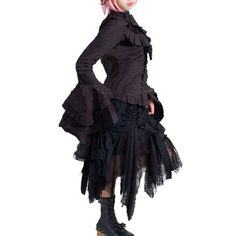 Black Brown Cyber Goth Punk Emo Vampire Clothing Modest Skirts SKU-11406005
