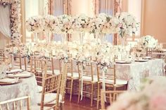Ahhhh today's tablescape is sooooo dreamy! With an abundance of  cream and blush pink hydrangea and roses along side gold chivari chairs and lace linen just calls for a gorgeous event. How about that row of tall silver vases filled with overflowing cream hydrangea and roses. I adore the little chair flourishes too. Love this!...Read more →