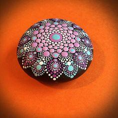 Hand painted Purple Stone Mandala
