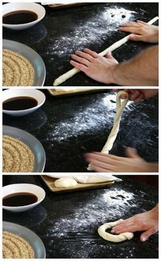 Homemade Simit Simit is a delicious sesame bread sold in bakeries all over Turkey. It's not difficult to make them with this recipe for Homemade Simit! Turkish Recipes, Ethnic Recipes, Romanian Recipes, Scottish Recipes, Turkish Simit Recipe, Pain Pizza, Bread Recipes, Cooking Recipes, Turkish Breakfast