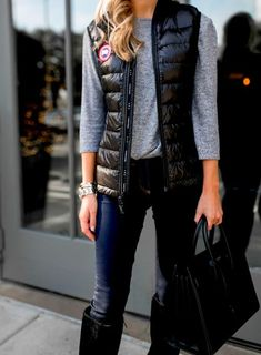 My Style canada goose puffer Rainy Day Outfit For School, School Outfits, Outfit Of The Day, Puffer Vest Outfit, Vest Outfits, Canada Goose, Leather Jacket, My Style, Jackets