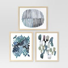 Start your styled gallery wall the right way with the three Blue Abstracts Framed Watercolors from Project 62™. With three different blue and green abstract designs, these three pieces make a cohesive focal point whether you pair them together with other art in your living room or line them up above your bed. <br><br>1962 was a big year. Modernist design hit its peak and moved into homes across the country. And in Minnesota, Target was born — with the revolution...