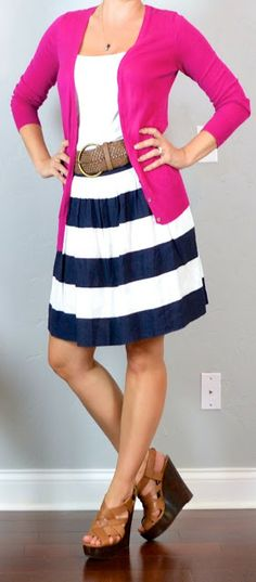 Summer heat with an AC office: bold striped A-line skirt, white tee, braided belt, bright cardigan, wedge sandals.