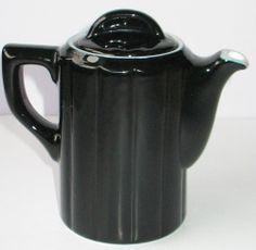 "Vintage Hall China Super Ceram Black Teapot 5.5""H Ribbed Design  USA Near Mint"