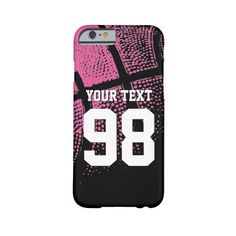 Custom pink basketball jersey number iPhone case Barely There Iphone 6... ($42) ❤ liked on Polyvore featuring accessories, tech accessories, pink iphone case, iphone case and apple iphone cases