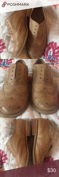 ON HOLD Melrose & Market Elliot Cognac Oxfords Worn once, price negotiable! I bought them at Nordstrom Rack and they're just a bit too small on me. I usually wear an 8.5 so since these are an 8 I would say they run true to size. Nordstrom Rack Shoes Flats & Loafers