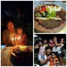 月のお誕生会孫の颯空と私ばぁばのお祝いを皆でしてくれましたありがとう() ちなみにケーキはチポリーノのココアケーキでした  #熊本県#山都町#島木 #誕生会 #チポリーノ tags[熊本県]
