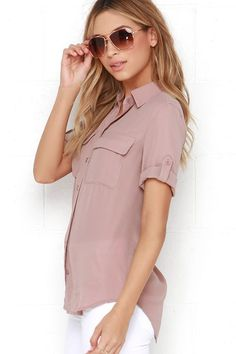 You and the cute Best of Friends Mauve Button-Up Top will be stylish companions for life! This classic collared top has a full button placket running the length of its breezy, woven poly bodice. Short sleeves can be worn down and relaxed, or buttoned thanks to button tabs. As Seen On Georgie of @georgiestevenson!