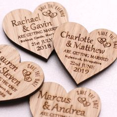 Wooden Save the Date Wedding Magnets  Let you friends and family know your big day in advance so they dont book anything else! These wedding magnets give the perfect rustic look with the engraved double heart and also have the option of adding Invite to follow or a wedding venue. They can also be engraved as Save the Evening too.  Material: 4 mm thick Oak Veneer  Dimension: 5 cm wide & 5 cm high (Approx)  Envelopes: Made from 200gsm white card with peel and seal tab. Perfect size for the ...
